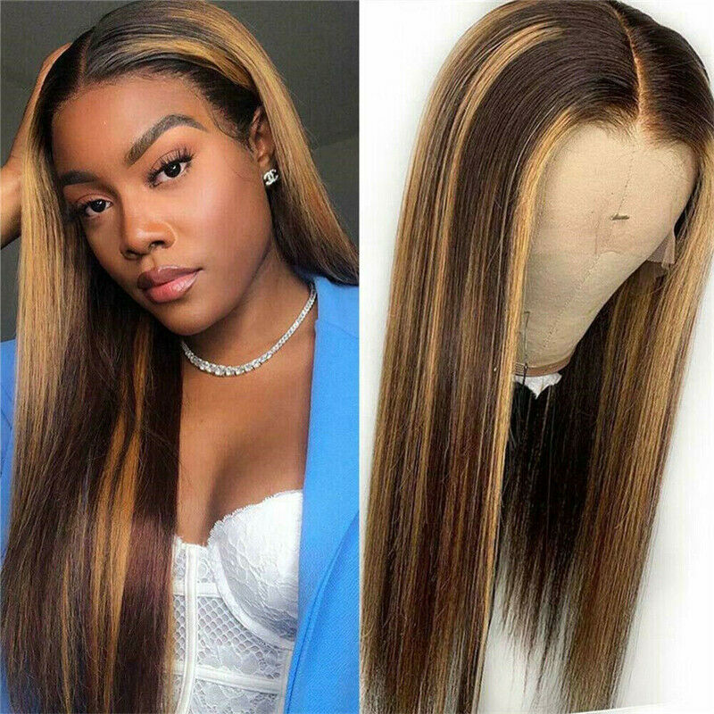 On Sales Price! Honey Brown Highlight Synthetic Wig, 14ins  Non Lace T Part. FREE POST
